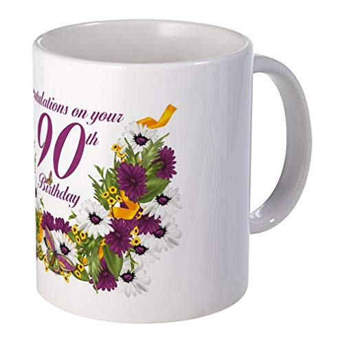 90th Birthday Giveaways Floral and Butterfly Unique Design Mugs Ceramic,11 Oz Capacity - White -