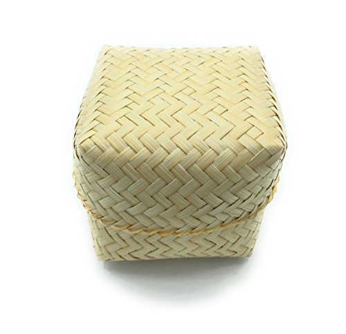 WD-4 Set of -Thai Eco-friendly Natural bamboo weave Handmade Sticky Rice Serving Basket Small Size 3x3x3'' Natural color by WD store