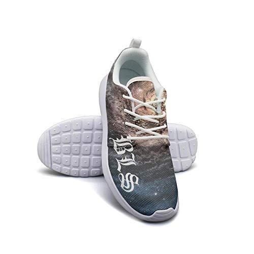 Yang-C Mens Walking Athletic Shoes Black-Label-Society-Skull- Comfort Casual Sneaker Trail Running Shoe