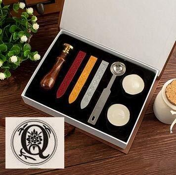 HBK 1set Vintage Wood Alphabet Badge Sealing Wax Seal Stamp Kit Set + Craft Spoon for Wedding Invitations Envelope -