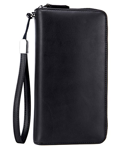 iSuperb RFID Blocking Genuine Leather Clutch Wallet Large Capacity Checkbook Wallet Zip Around Handbag with Wrist Strap for Men and Women (Black) -