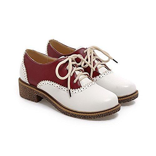 Allhqfashion Donna Lace Up Pu Tacco Basso Tacco Basso Assortiti Colore Scarpe-scarpe Rosse