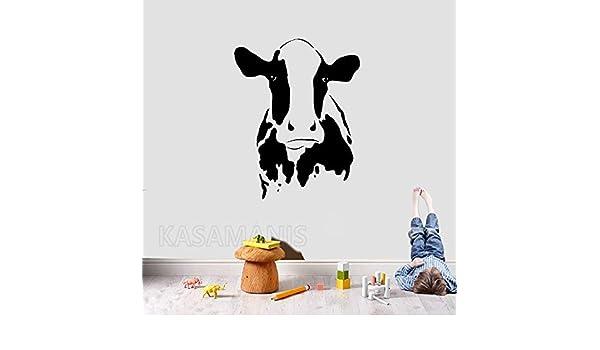 jiuyaomai Cute Cow Head Wall Art Tatuajes de Pared Animal de ...