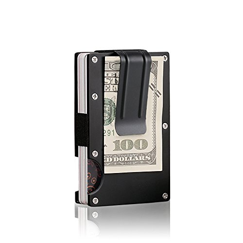 Metal Money Clip Wallet Minimalist Men's RFID Blocking Front Pocket Wallet, Slim Aluminum Credit Card Business Bank Card Case Holder for Women by INNKER