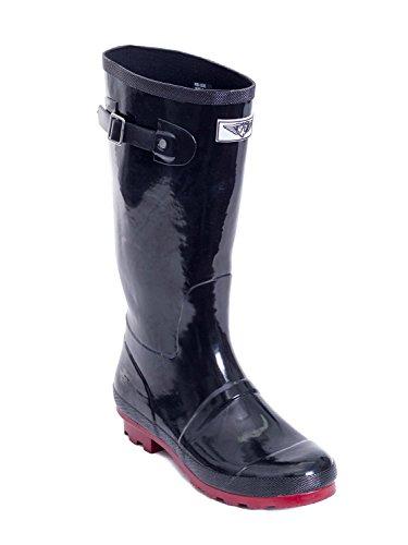 Stivali Da Pioggia In Gomma Stile Cavaliere Da Cowboy A Metà Polpaccio Striscia Nera / Rossa