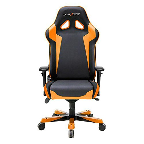 DXRacer OH/SJ00/NO Black & Orange Sentinel Series Gaming Chair Ergonomic High Backrest Office Computer Chair Esports Chair Swivel Tilt and Recline with Headrest and Lumbar Cushion + Warranty