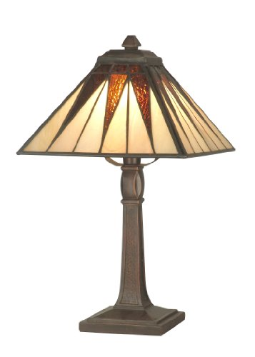 Dale Tiffany TA70680 Cooper Accent Lamp, Antique Bronze and Art Glass Shade - Fine Art Lamps Bronze Table Lamp