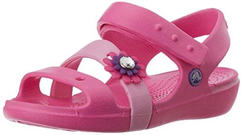 crocs Keeley Petal Charm PS Sandal (Toddler/Little Kid/Big Kid),Neon Magenta/Carnation,8 M US Toddler by Crocs