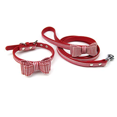 Red Striped Dog Collar - Alfie Pet - Panya Striped Print Collar and Leash Set - Color: Red, Size: Small
