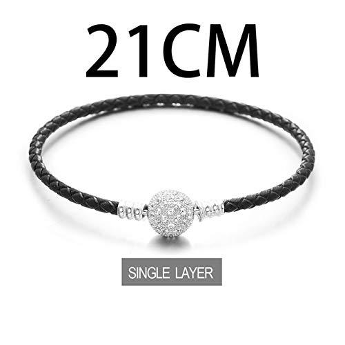 Gabcus Blue Leather Bracelet 925 Sterling Silver Bracelets BZSL013 - (Metal Color: Single Layer 21CM) ()