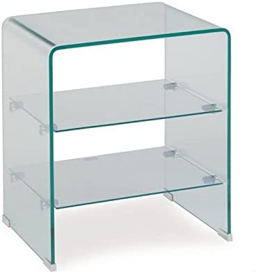 sdm Mesa Auxiliar Cristal Curvado estantes 50x40: Amazon.es: Hogar