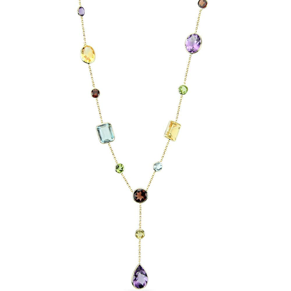 14K Yellow Gold Necklace With Dangling Smoky Topaz Gemstones 16 Inches