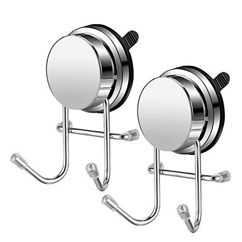 fssl Powerful Vacuum Suction Cup Bathrobe Robe Towel Loofah Coats Hook Holder Hanger for Bathroom & Kitchen Tools Accessories Stainless Steel(2 Pack), 4.723.152.36'', Silver