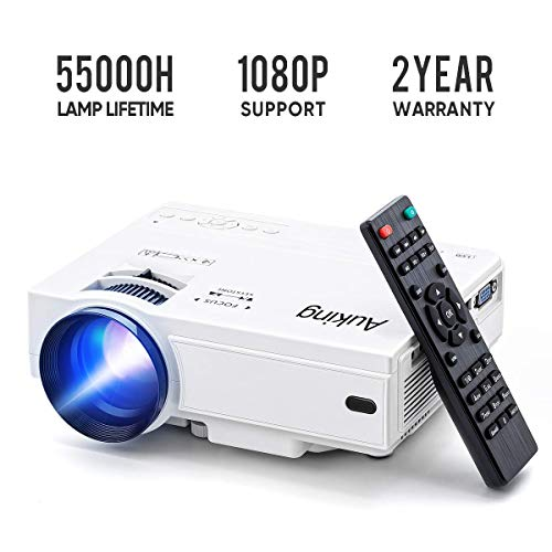 Mini Projector 2019 Upgraded Portable Video-Projector,55000 Hours Multimedia Home Theater Movie Projector,Compatible with Full HD 1080P HDMI,VGA,USB,AV,Laptop,Smartphone ()
