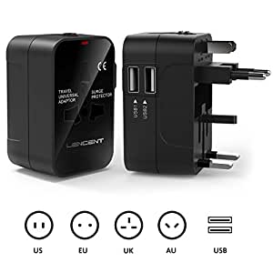 Travel adaptor, LENCENT Universal Power Adapter with UK/USA/EU/AUS Worldwide Travel Plug, 2 USB Charging Ports International Wall Adapter for Apple, iPhone, iPad, Samsung, Huawei, Android Phones, Tablets and More