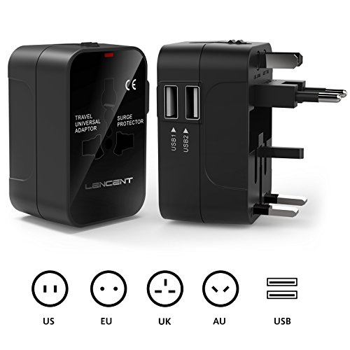 International Travel Adaptor, LENCENT All in One Universal Global Power Adapter with 2 USB Charging Ports Europe UK/USA/EU/AUS Worldwide Wall Plug Charger Converter for Laptops,Phones,Tablets and More by LENCENT