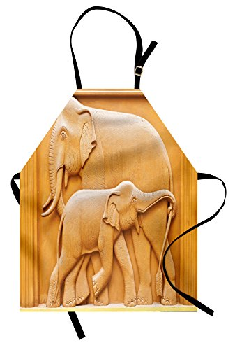 Lunarable Sculptures Apron, Carved Wooden Mother Child Baby Elephants African Animals Artistic Design, Unisex Kitchen Bib Apron with Adjustable Neck for Cooking Baking Gardening, Apricot Mustard by Lunarable
