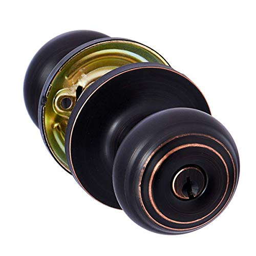 AmazonBasics Entry Door Knob With Lock, Classic, Oil Rubbed Bronze
