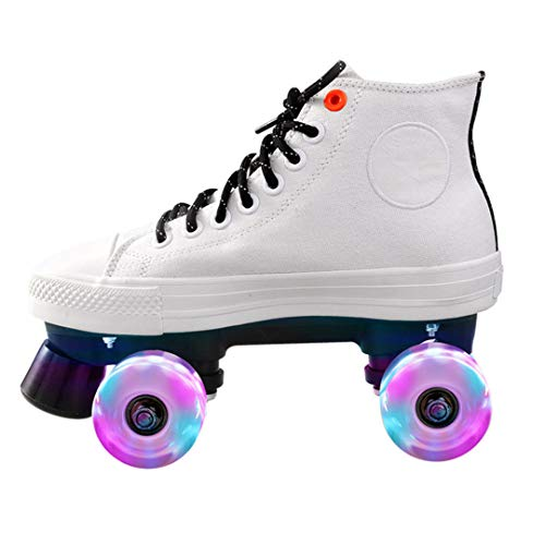 Double Row Adult Roller Skates Unisex Canvas Shoes for Lovers Two Line Flashing Wheels White Flashing Skate 38