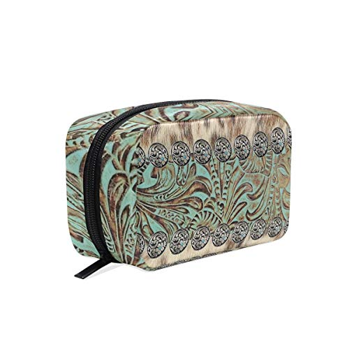 Multifunction Pouch Purse Case Bag Organizer Travel Cosmetic Toiletry Wallet Card Holder Pen, Rustic Brown Cowhide Teal Western Country Tooled Leather
