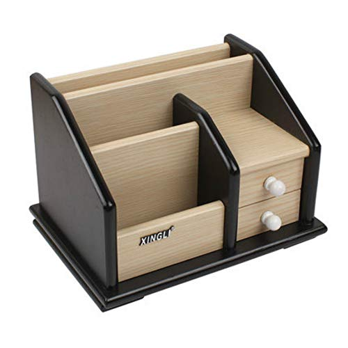 Lastaiol Wooden Pen Holder with Drawer Office Storage Box Business Card Holder Home Wooden Pen Holder Office ()