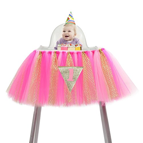 Smartcoco Baby 1st Birthday Deluxe High Chair Tulle Skirt Glitter Chair Skirt Decoration Party Supplies,36