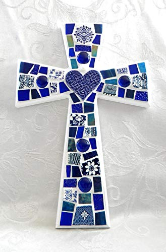 (Large Mix of Blues Mosaic Cross - Heart Focal Piece - Stained Glass and Broken China)