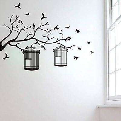 lyclff Ramas de pájaros Jaula de Vinilo Tatuajes de Pared ...