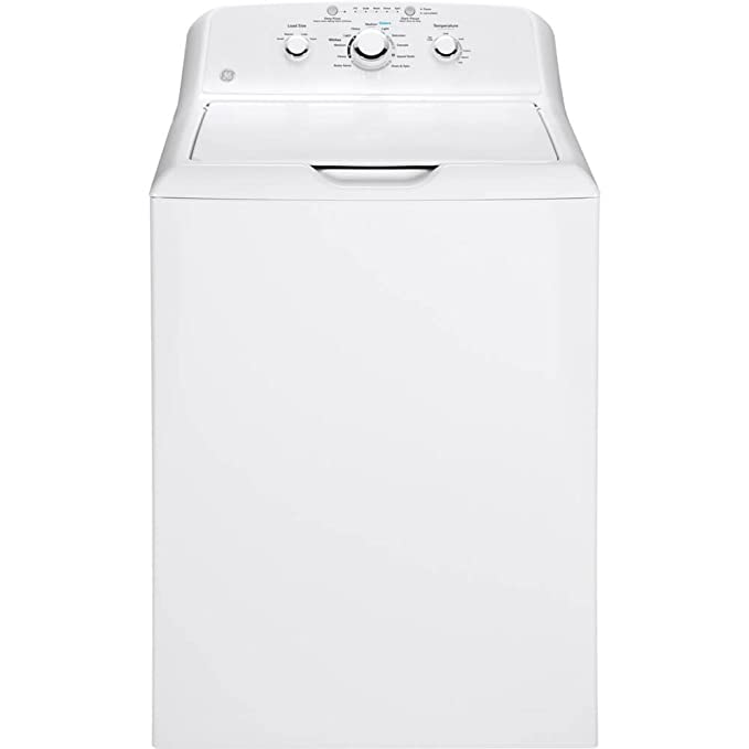GE GTW330ASKWW Top Loading Washer with Stainless Steel Basket, 3.8 Cu. Ft. Capacity, 11 Cycles, White, best top-loading washer