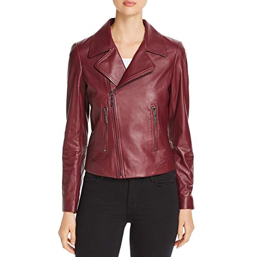 Elie Tahari Womens Mae Fall Short Leather Jacket Red S