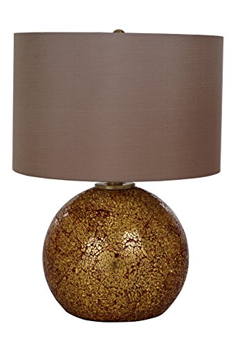 Catalina Lighting 20638-000 Maui Table Lamp with Light Brown Faux Silk Drum Shade, Medium, Red and Gold Crackle Glass