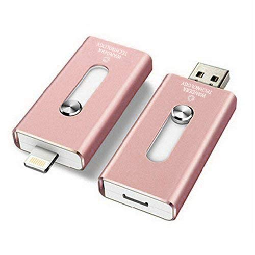 64GB iPhone USB Flash Drive, iOS Memory Stick, iPad External Storage Expansion for iOS Android PC Laptops (Pink 64GB) ...