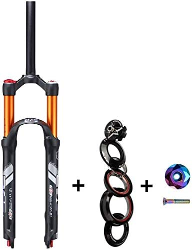 CFJJOAT 自転車サスペンションフォーク26 27.5インチMTBフォーク120mmトラベル と自転車ヘッドセットセットそしてカラフルトップキャップ-ブラック (Color : 27.5 inches)