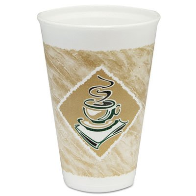 (Dart 16X16G Café G Foam Hot/Cold Cups, 16oz, White w/Brown & Green (Case of)