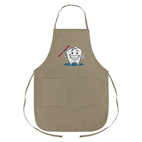 - Graphics and More Happy Tooth Toothbrush Dentist Apron with Pockets