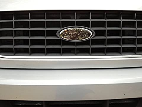 Tree Camouflage Auto Wrap Vinyl Decal - Oval shaped - Overlay your Ford Grill or Rear (Tailgate/Trunk) Truck / Car / SUV Emblem (8.25