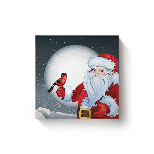 YEHO Art Gallery Square Canvas Wall Art Oil Painting Office Home Decor,Cute Santa Claus with Bird Moon The Night Scenery Artworks for Christmas,Stretched by Wooden Frame,Ready to Hang,24 x 24 Inch