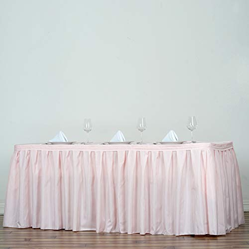 BalsaCircle 21 feet x 29-Inch Blush Polyester Banquet Table Skirt Linens Wedding Party Events Decorations Kitchen Dining Catering - 21' Table Skirt Polyester