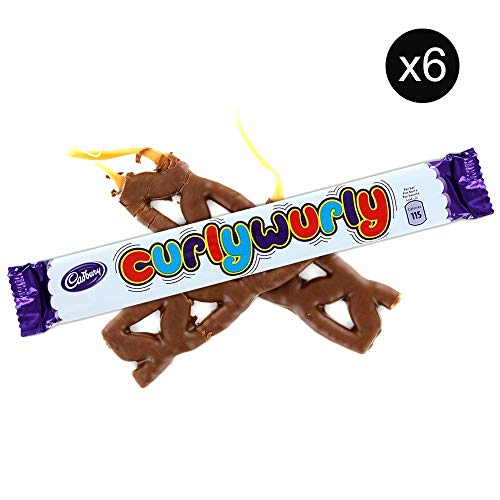 Cadbury Curly Wurly Chocolate Chewy Bars | Total 6 bars of British Chocolate Candy