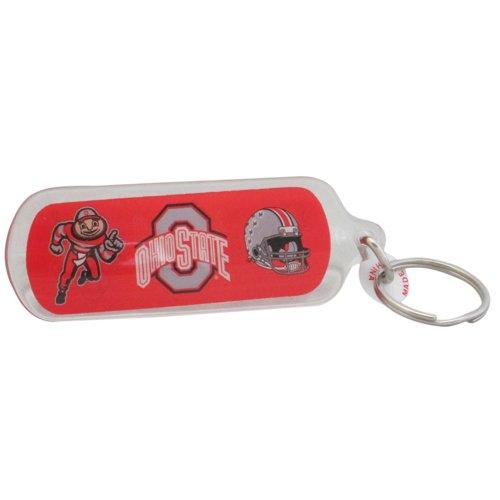 Red Keychain Buckeyes (NCAA Ohio State Buckeyes 3 Logos Acrylic Key Ring, 5