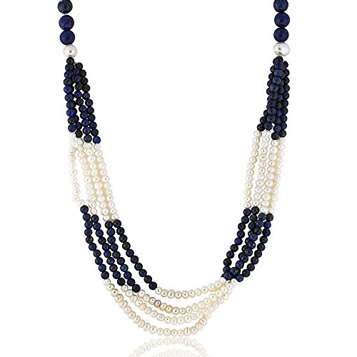 (Gem Stone King 4-Row Dark Blue Lapis & Cultured Freshwater Pearls Necklace 18inches+ 2'' Extension)