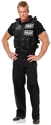 Swat Team Vest Adult Costume, One Size, Black
