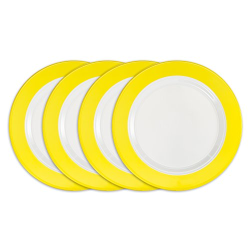 Plate Melamine 10.5 (Q Squared Bistro BPA-Free and Shatterproof Melamine Dinner Plate, 10-1/2-Inches, Set of 4, Yellow, White)