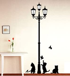 1 x black cat design picture art peel stick wall sticker diy vinyl wall decal