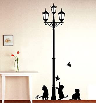 1 x black cat design picture art peel stick wall sticker diy vinyl wall decal - Design Wall Decal