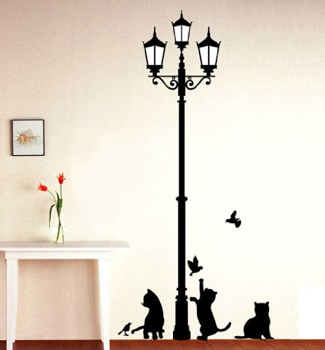 1 X Black Cat Design Picture Art Peel & Stick Wall Sticker DIY Vinyl Wall Decal Applique 33x60cm (Black Wall Decals compare prices)