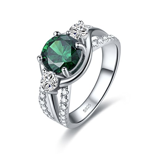 Merthus 925 Sterling Silver Created Emerald Anniversary Engagement Band Ring for Women Birthday Graduation Gifts Jewelry
