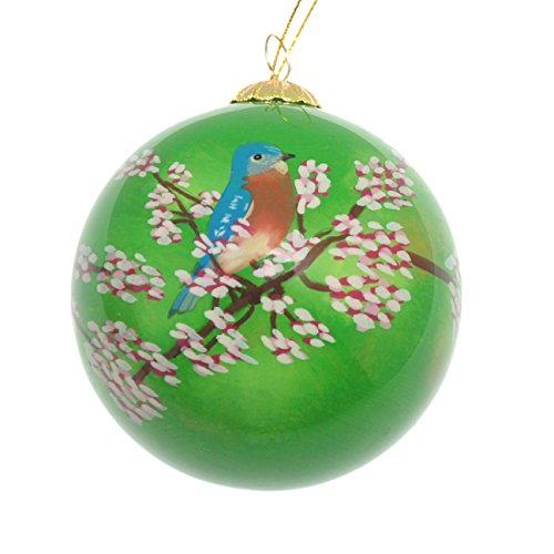 (Art Studio Company Hand Painted Glass Christmas Ornament - Bluebird)