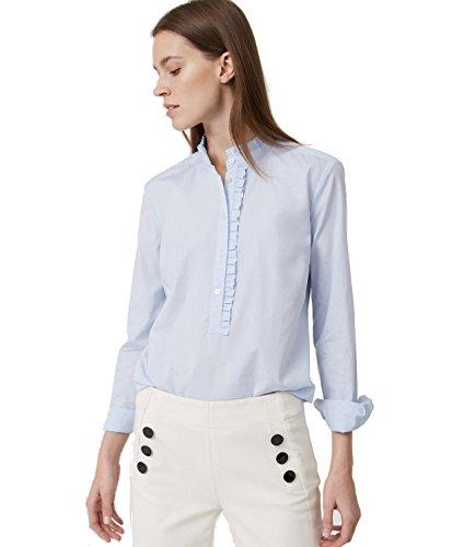 ann-taylor-loft-womens-blue-woven-cotton-ruffle-henley-blouse-shirt-medium