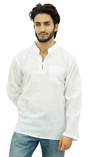 Atasi Men's Band Collar Short Kurta White Cotton Casual Tunic ()